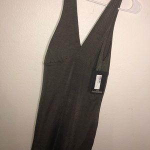 Prettylittlething Khaki Stripe Bodycon Dress